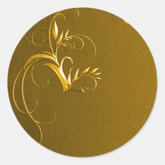 Elegant Gold Wedding Envelope Seals Round Sticker