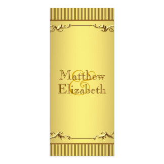 Elegant Gold Wedding Menu Program 10 Cm X 24 Cm Invitation Card