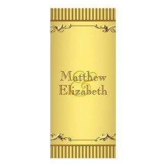 Elegant Gold Wedding Menu Program Custom Invitation