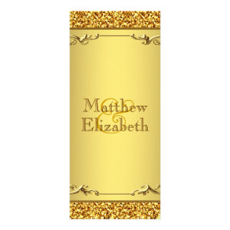 Elegant Gold Wedding Menu Program Personalized Invitation