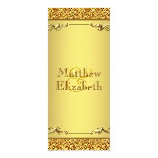 Elegant Gold Wedding Menu Program 4x9.25 Paper Invitation Card