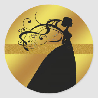 Elegant Gold Wedding Sticker with Bride