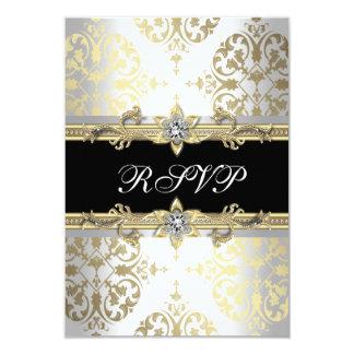 "Elegant Gold White Black Damask RSVP 3.5"" X 5"" Invitation Card"