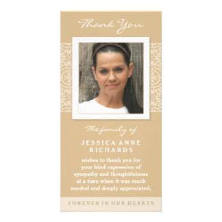 Elegant Gold & White Custom Photo Thank You Card