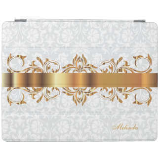 Elegant Gold & White Damask iPad Cover