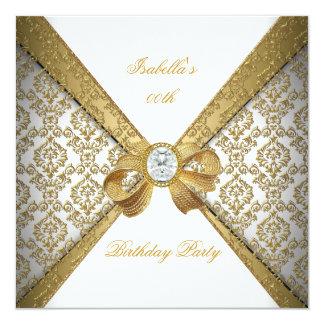 Elegant Gold White Diamond Damask Birthday Party 13 Cm X 13 Cm Square Invitation Card