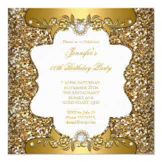 Elegant Gold White Floral Diamond Jewel Party SQ Card