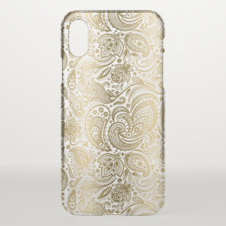 Elegant Gold & White Floral Paisley iPhone X Case
