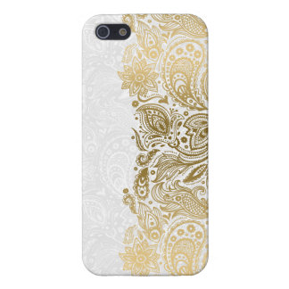Elegant Gold & White Floral Paisley Lace iPhone 5 Cases