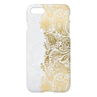 Elegant Gold & White Floral Paisley Lace iPhone 8/7 Case