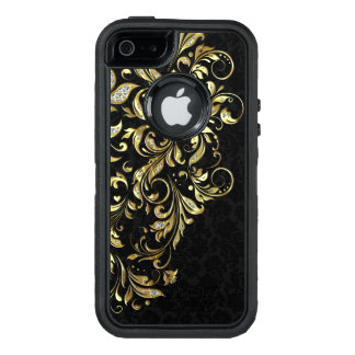 Elegant Gold & White Glitter Floral Lace On Black OtterBox Defender iPhone Case