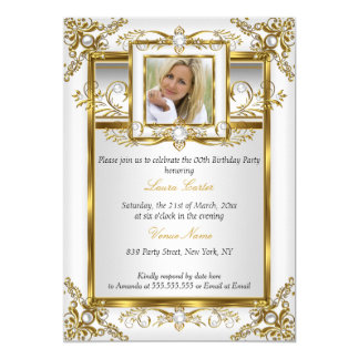 Elegant Gold White Pearl Damask Photo Birthday 4a 13 Cm X 18 Cm Invitation Card