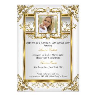 Elegant Gold White Pearl Damask Photo Birthday 4a Card