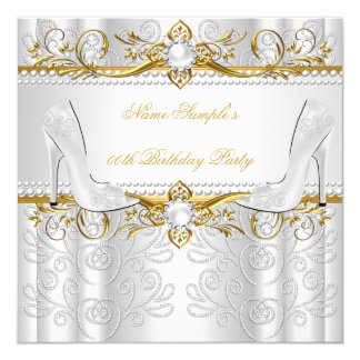 Elegant Gold White Pearl Diamond High Heels Party 13 Cm X 13 Cm Square Invitation Card