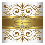 Elegant Gold White Quinceanera Invitations
