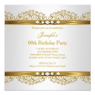 Elegant Gold White Silver Diamond Birthday 13 Cm X 13 Cm Square Invitation Card