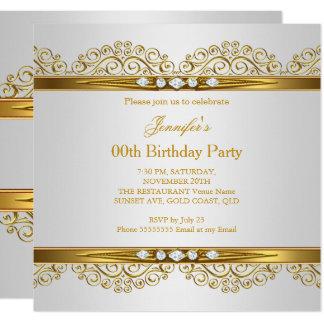 Elegant Gold White Silver Diamond Birthday Card