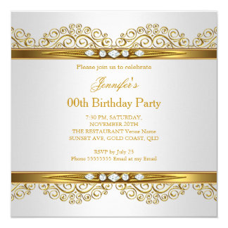 Elegant Gold White Silver Diamond Birthday Card
