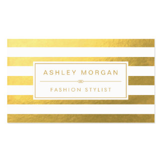 Elegant Gold White Stripes - Chic and Stylish Pack Of Standard Business Cards