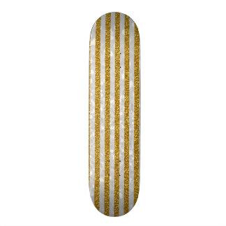 Elegant Gold White Stripes Glitter Photo Print Skate Deck