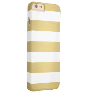 Elegant Gold White Stripes Metallic Luxury Barely There iPhone 6 Plus Case
