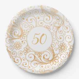 Elegant Gold White Swirl birthday party age Paper Plate