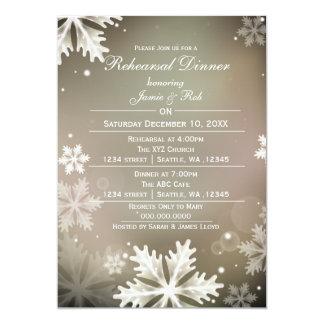 Elegant Gold Winter Rehearsal Dinner invite