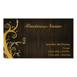 Elegant Gold & Wood grain Business Card