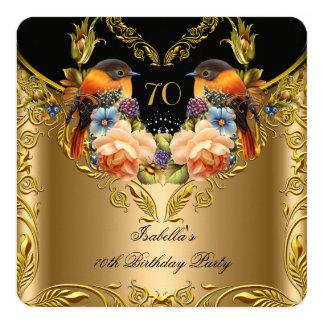 Elegant Gold Yellow Bird Black 70th Birthday 13 Cm X 13 Cm Square Invitation Card