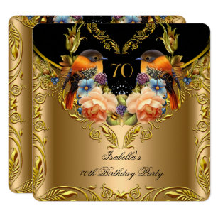 Elegant Gold Yellow Bird Black 70th Birthday Invitation