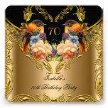 Elegant Gold Yellow Bird Black 70th Birthday Personalized Invitation