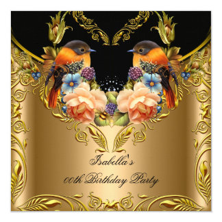Elegant Gold Yellow Bird Black Birthday Party 2 13 Cm X 13 Cm Square Invitation Card