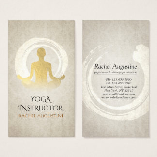 Elegant Gold Yoga Meditation Instructor ZEN Symbol Business Card