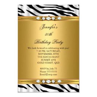 Elegant Gold Zebra Black Silver Diamond Birthday 2 9 Cm X 13 Cm Invitation Card
