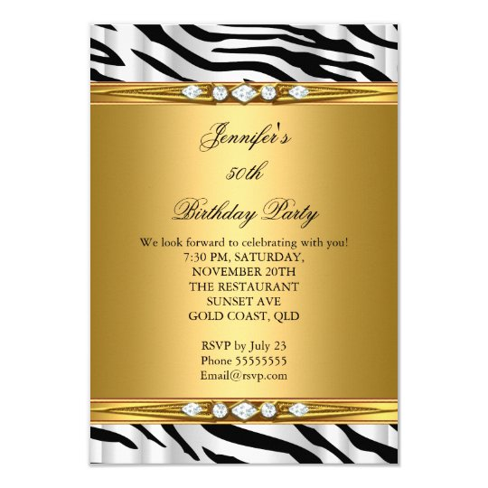Elegant Gold Zebra Black Silver Diamond Birthday 2