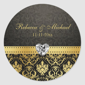 Elegant Goldand Black Damask with Diamond Heart Round Sticker