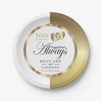 Elegant Golden 50th Heart Design Paper Plate