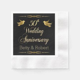Elegant Golden 50th Wedding Anniversary Paper Napk Disposable Serviette