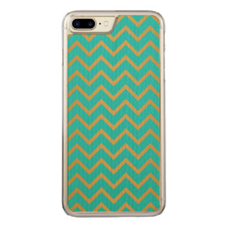 elegant golden and turquoise chevron pattern carved iPhone 8 plus/7 plus case