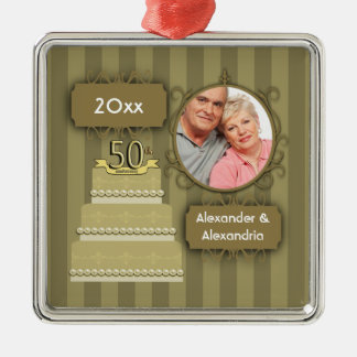 Elegant Golden Anniversary Christmas Ornament