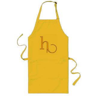 Elegant golden art nouveau monogram h personal long apron