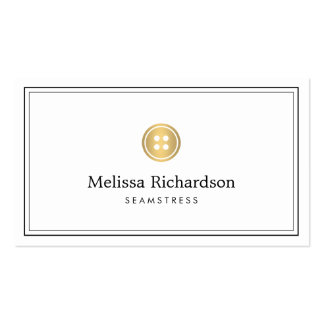 Elegant Golden Button Logo Seamstress, Tailor II Double-Sided Standard Business Cards (Pack Of 100)