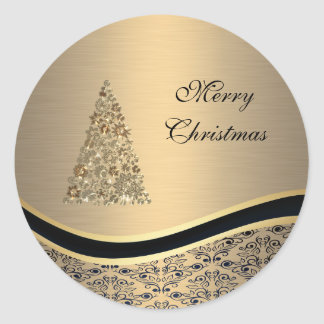 Elegant golden damask Christmas tree winter Round Sticker