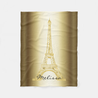 Elegant Golden Eiffel Tower | Best Gifts Fleece Blanket