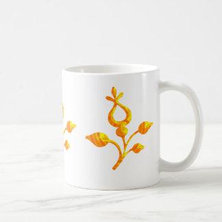 Elegant Golden Flower Coffee Mug