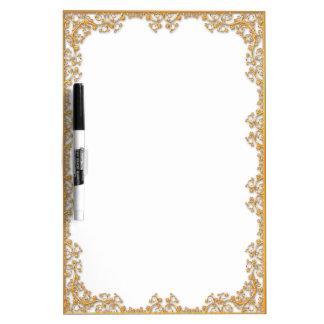 Elegant golden frame dry erase white board