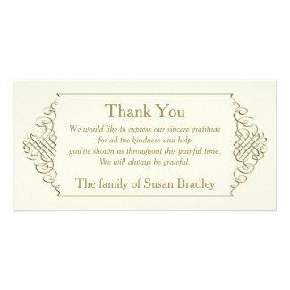 Elegant Golden Frame - Sympathy Thank You Photo Card