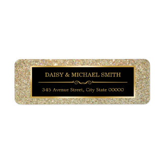 Elegant Golden Glitter Sparkles Wedding Return Address Label