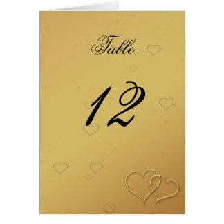Elegant Golden Hearts Wedding Table Card