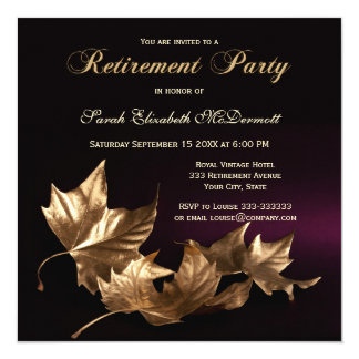 Elegant Golden Leaves Retirement Party Invitation